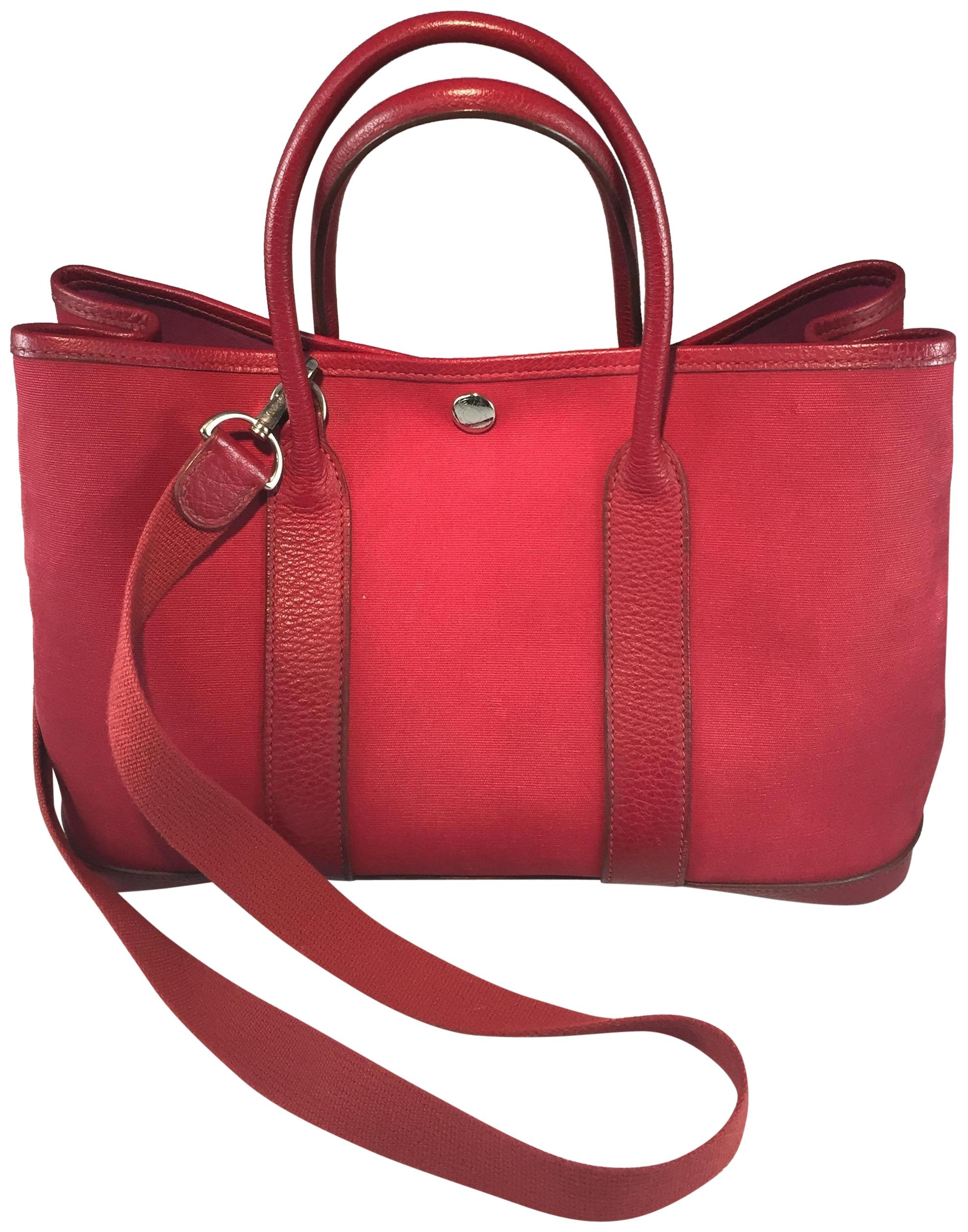 garden party hermes. Hermès Tpm Canvas 30 Garden Tote In Rouge Party Hermes U