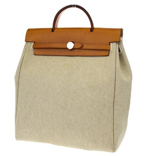 Hermès Hand Canvas Leather Tote in Beige