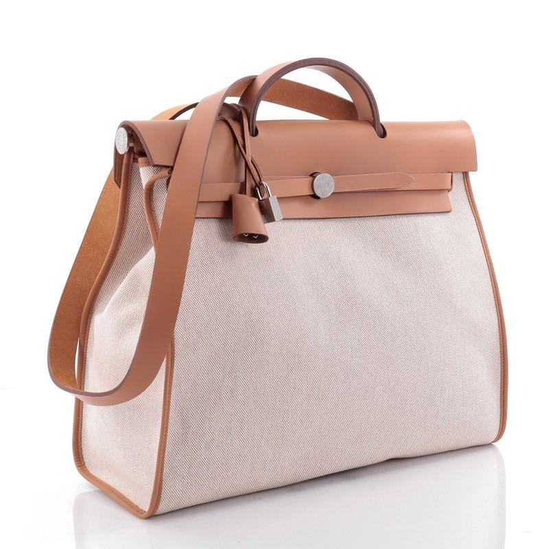 ... usa hermès herbag zip 39 off white leather and toile shoulder bag  tradesy d9c0b b8626 ... 95fda9325c