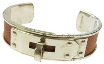 Herms HERMES Bangle Leather Brown Silver