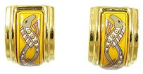 Hermès HERMES Cloisonne Clip-On Earrings Goldtone/Enamel Multiccolor