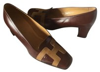 Hermès Leather Low Heels Choco Mocca Mules