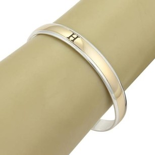 Hermès Hermes Signature H 8mm Wide Sterling Silver 18k Gold Bangle