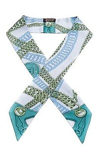 Hermès Hermes Blue Green Silk Maillons Twilly Scarf