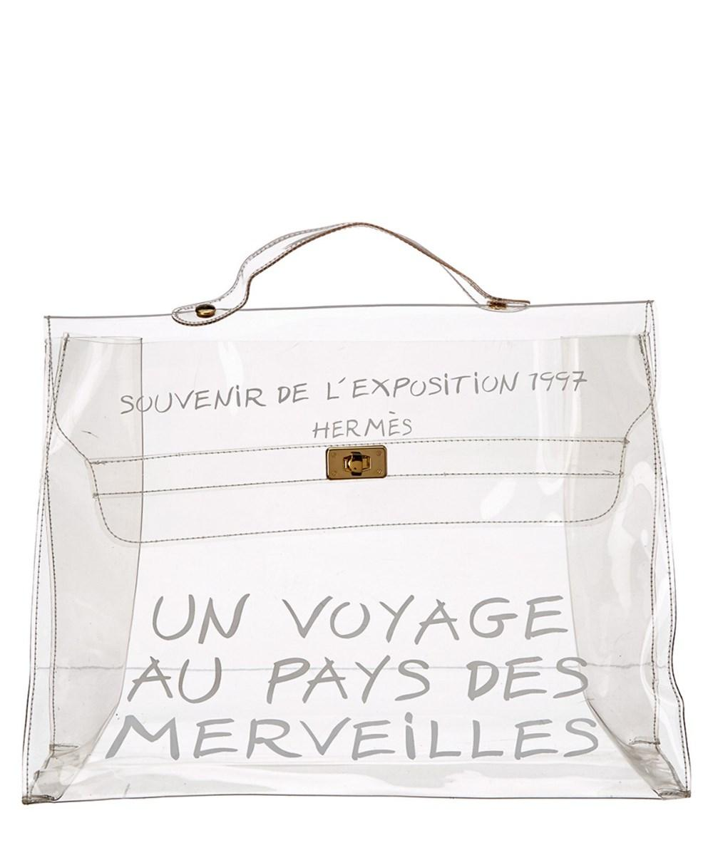 066517443cc ... promo code for hermès kelly limited edition rare beach see through  satchel in clear 9aebb aa9e3