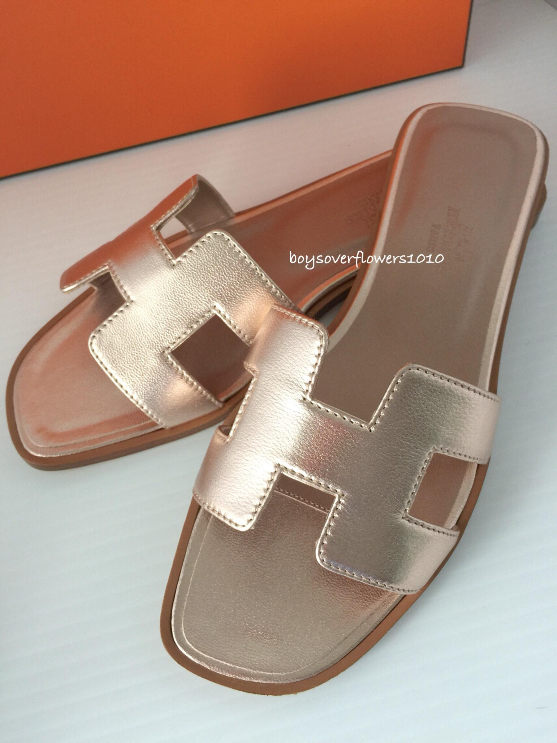 Hermès Metallic Leather Flats amazon for sale shopping online original best sale free shipping 2014 A3bmiF