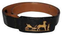 Hermès PHOTOGRAPH Black Crocodile Leather Belt & Buckle with Gold Horse Carriage Sz 70 HTL117S