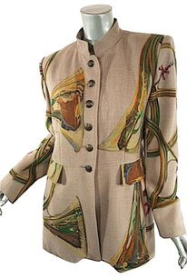 Hermes Rare Woolcashmere Long Beige Multi Color Jacket