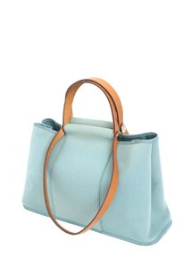Hermès Cabag Pm Light Mint Brown Leather Canvas Tote Satchel in Blue