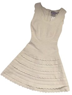 Hervé Leger short dress Ivory Scalloped Bandage on Tradesy