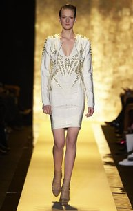 Herv Leger Herve Beaded Bandage Alabaster Jacket