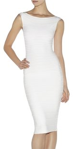 Hervé Leger short dress White Herve Ivory Scalloped Bandage on Tradesy