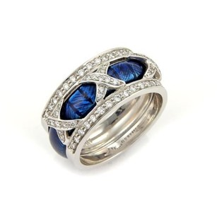 Hidalgo Hidalgo Diamonds Blue Enamel 18k Wgold Open Band Ring Winsert