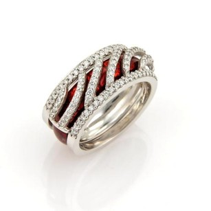 Hidalgo Hidalgo Diamonds Red Enamel 18k White Gold Open Band Ring Winsert -