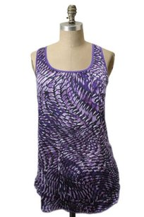 H.I.P. Happening In The Present Print Sheer Front Top Plum