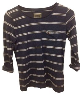 Hollister T Shirt Navy blue and white stripe