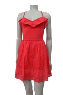 Hollister short dress strawberry Cotton So Cal Stretch Ruffle Front on Tradesy