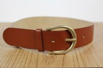 Hugo Boss Boss Hugo Boss Womens 1 Solid Tan Leather Belt Gold Buckle Width