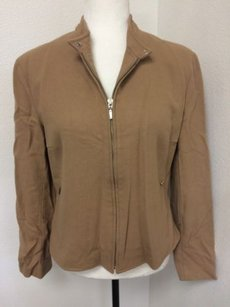 Hugo Buscati Womens Wool Blend Tan Zip Front Beige Jacket
