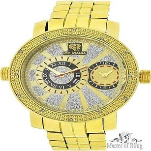 Ice Mania Ice Mania 14k Yellow Gold Finish Men Metal Band Real Diamond Rodeo Jojo Watch