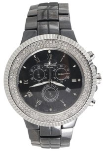 IceTime Mens Diamond Watch Icetime Joe Rodeo Jojo Black Ceramic Chronograph 1.50 Ctw.