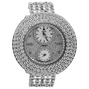 IceTime Mens Icetime Diamond Watch Illusion Dial Fully Iced Band Row 50mm Ct.