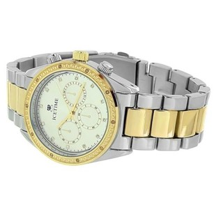 IceTime Real Diamond Watches On Sale Mens Tone Timezone Look Icetime Luxury Style