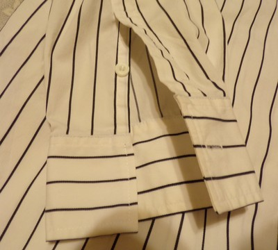 INC International Concepts No Iron Dressy Instyle Office Casual Easy Care Button Down Shirt White /Black stripes