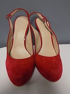 INC International Concepts Rounded Toe High Heels Leather B3483 Red Pumps
