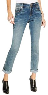INC International Concepts Cropped Washed Denim Straight Leg Jeans