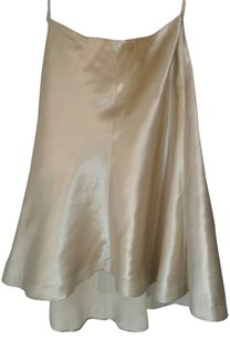 INC International Concepts Silk Linen Skirt Light gold