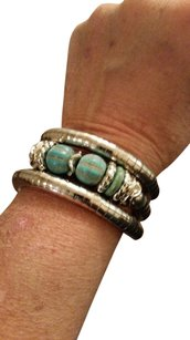 Independent Clothing Co. Tibetan Silver Bracelet Multi-layer Adjustable Bangle Watermelon Shape Turquoise
