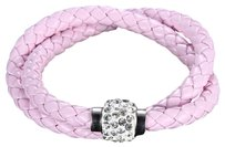 Independent Clothing Co. Powder Pink Crystal PU Leather Double Bracelet