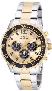 Invicta Mens Invicta 16288 Specialty Chronograph Gold Dial Two Tone Steel Watch