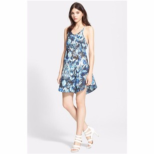 IRO short dress Blue Abstract Print Cotton Sleeveless Drawstring Tie Dye Mini 364sm on Tradesy
