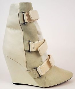 Isabel Marant Runway Leather Suede Pony Hair Wedge Eu36 Ivory Boots