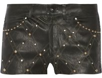 Isabel Marant Leather Stud Embellished Quilted Mini/Short Shorts Black
