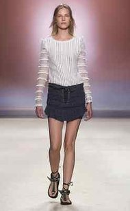 Isabel Marant Grey Lace Up Mini Skirt Blue