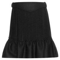Isabel Marant New Wool Pleated Belted Flare Mini Skirt Navy
