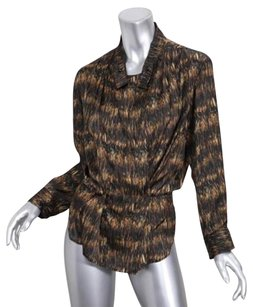 Isabel Marant Brown Black Silky Print Lincey Womens Shirt Top