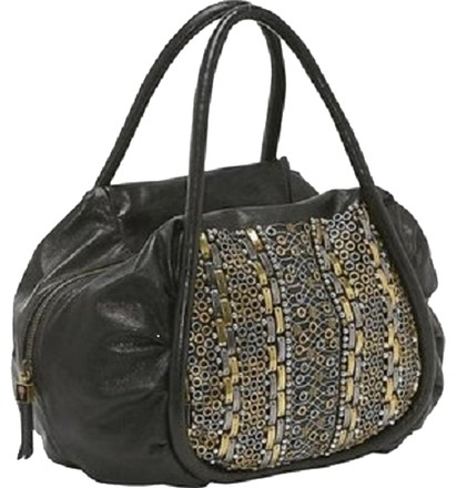 Isabella Fiore Satchel in Black & Metal
