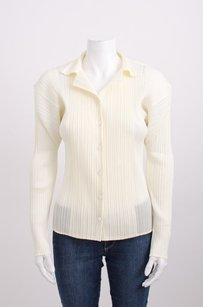 Issey Miyake Pleats Cream Long Sleeve Button Up Shirt Top Ivory