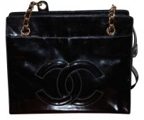 Chanel Vintage Monogram Patent Tote in Black