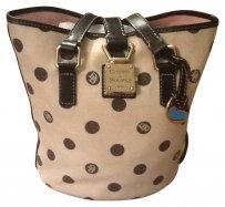Dooney & Bourke Bag - Satchel in Tan with black polka dot DB Signature motif