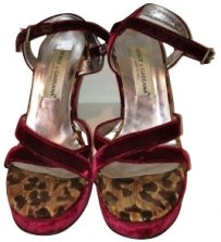 Dolce & Gabbana Burgundy Sandals