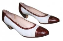 Salvatore Ferragamo Brown and White Spectator Pumps