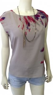 Kenneth Cole Top gray/brush stroke print