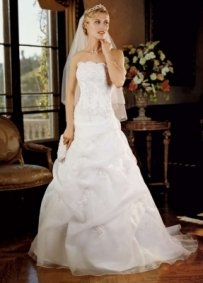 David's Bridal Corset Beaded Dress Wedding Dress