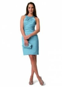 David's Bridal Blue F13277 Short Satin Dress With Pleated Dress