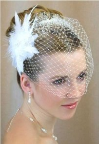 Lc Bridal Birdcage Veil With Feather Fascinator